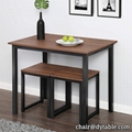 Modern Wood 3 Piece Dining Set Dining Table with Two Stools Home Kitchen Breakfa