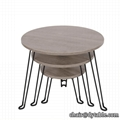 Foldable Round Coffee Table Modern Wood End Side Desk Wood With Metal legs
