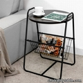 Tier End Table Nightstand with Removable Storage Basket and Handle