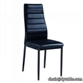 black leather dining stainless steel chair