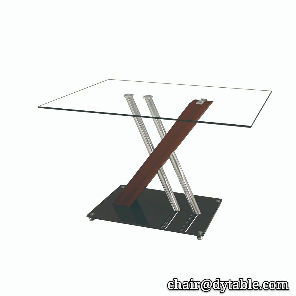 modern designer metal frame black glass stainless steel dinner table set