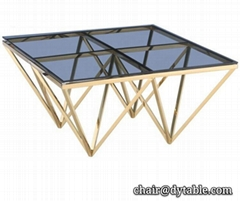 glass top stainless steel metal coffee table sets