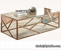 best selling modern designs rose golden glass top stainless steel coffee table
