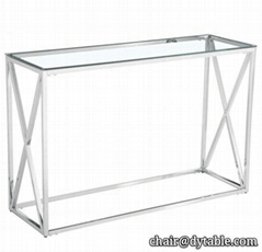 luxury 6K polished silver colour tall glass console stainless steel table