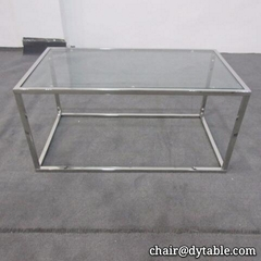 Luxury coffee  furniture stainless steel leg glass coffee tables