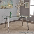 metal tempered glass stainless steel dining table and chair