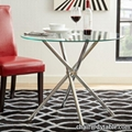 round glass top metal leg stainless steel dining table