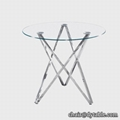round tempered glass stainless steel dining table with glass 2