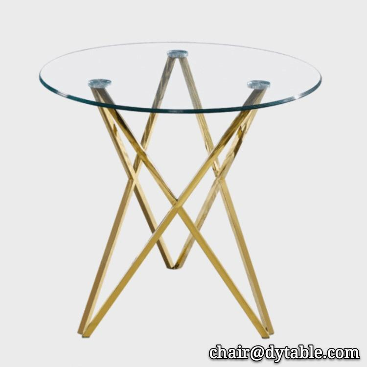 round tempered glass stainless steel dining table with glass 1