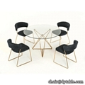 modern glass stainless steel dining table set 4 chairs