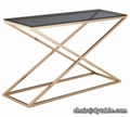 coffee table set in gold color stainless steel table