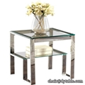 stainless steel bed room glass top small end table