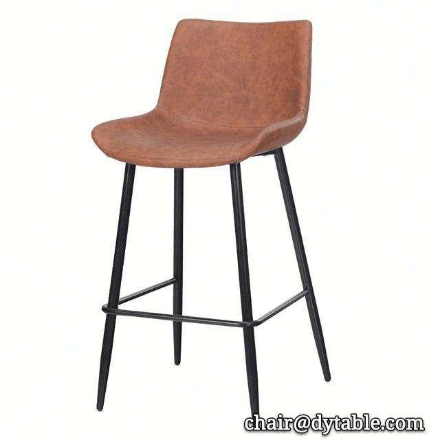 Free sample leather vintage Bar stool modern bar chair stainless steel chair