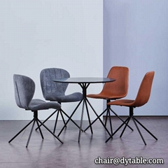Modern dining chair set with upholstered cushion stainless steel chair