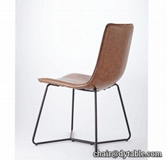 Modern leather dining chair set , PU single dining table stainless steel chair