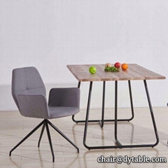 dining table mdf cover with oak PU PAPER; metal legs stainless steel