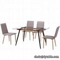 dining furniture rectangle transparent tempered glass top metal base dinin