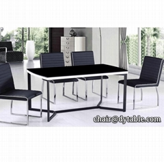 living room furniture sets luxury tempered glass dining table  stainless steel