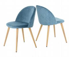 Modern home furniture Cheap blue Velvet fabric wooden transfer painting chair