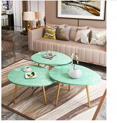 Hot sale modern egg shape appearance marble gold coffee table set design cheap
