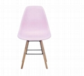 Cheap wholesale pink plastic chair pp high back wood leg dining room chair