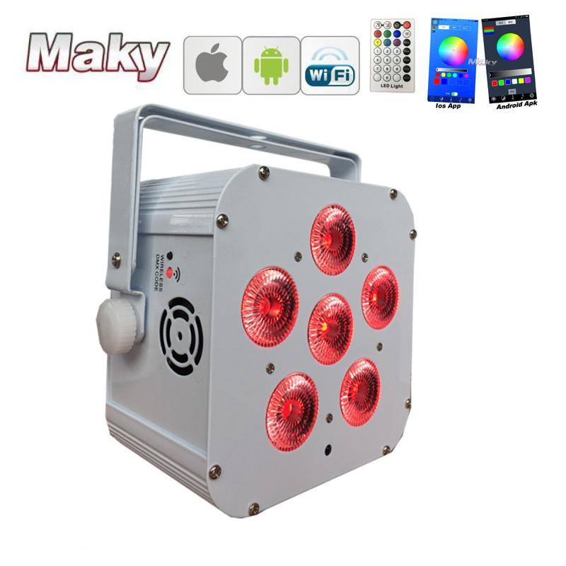 DJ lighting 6x18w RGBWA + UV Wifi smart app wireless dmx LED battery powered  1