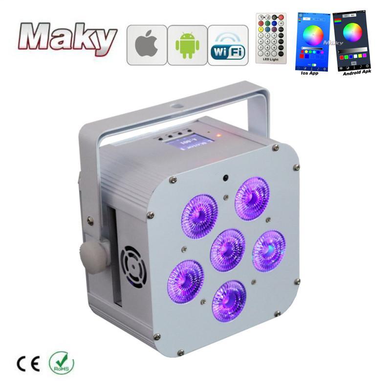 DJ lighting 6x18w RGBWA + UV Wifi smart app wireless dmx LED battery powered  2