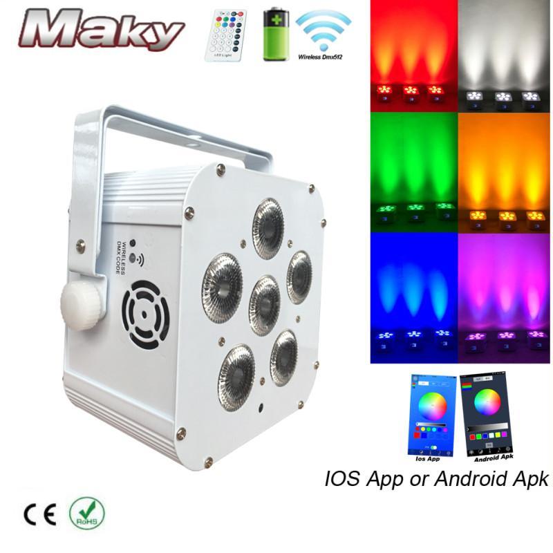 DJ lighting 6x18w RGBWA + UV Wifi smart app wireless dmx LED battery powered  3