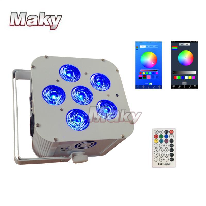 DJ lighting 6x18w RGBWA + UV Wifi smart app wireless dmx LED battery powered  4