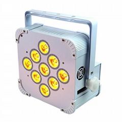 Popular hot Wireless battery DMX 9x18W RGBAWUV 6in1 LED uplight Flat Par wedding