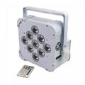 Popular hot Wireless battery DMX 9x18W RGBAWUV 6in1 LED uplight Flat Par wedding 2