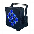 Popular hot Wireless battery DMX 9x18W RGBAWUV 6in1 LED uplight Flat Par wedding 3
