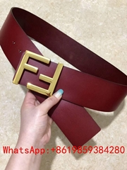 Double-F Buckle Leather woman  men belt in smooth leather Metal FF buckle