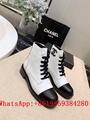 CC Martin boots Chan-el chamois leather shoes CC leather boot CC high heel boots
