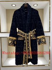 Newest Arrival Versace Embroidered Logo Baroque Bathrobe Versace pajama hot sale