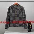 Newest Louis Vuitton Damier Waves Monogram Denim Jacket Indigo LV  Logo Jackets