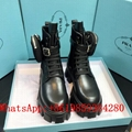 wholesale Newest Arrival PRADA Detachable pouch leather and nylon combat boots