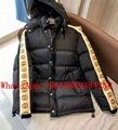 Wholesale New Arrival GUCCI GG JACQUARD Taped Sleeve Logo Down Jacket in Black