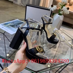 New Gucci Platform sandal with Double G Gucci Marmont GG Ankle-Strap Sandals hot