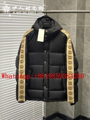 Wholesale New Arrival       GG JACQUARD Taped Sleeve Logo Down Jacket in Black   (Hot Product - 1*)