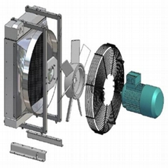 Cooling system package including fan shroud, fan, fan motor( DC/AC/Hydraulic ),