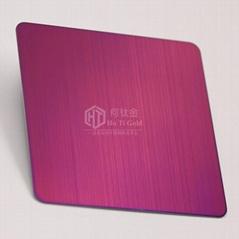 仿高比不锈钢拉丝紫红幕墙装饰板