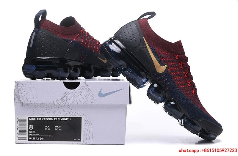 63fbbf3191 ... Nike Air Vapormax Flyknit 2 942842-601 Red Navy Blue Gold Black Dark  nike shoes ...