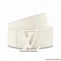 LV SHAPE 40MM BELT Embossed White