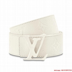 LV SHAPE 40MM BELT Embossed White Taurillon leather strap Calf leather lining