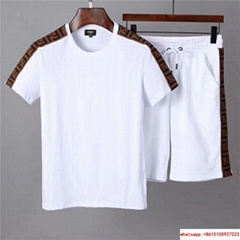 Newest wholesale fendi suit fendi short sleeve suit athletic wear fendi sport
