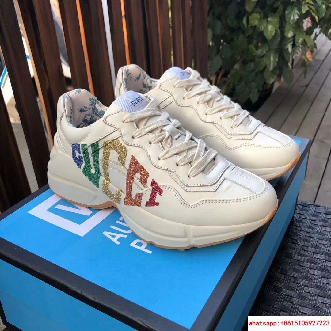 b0f42d759 gucci Rhyton glitter Gucci leather sneaker gucci men shoes gucci women shoes  1 ...