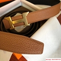 Belt Hermes Black Leather With Gold H Buckle