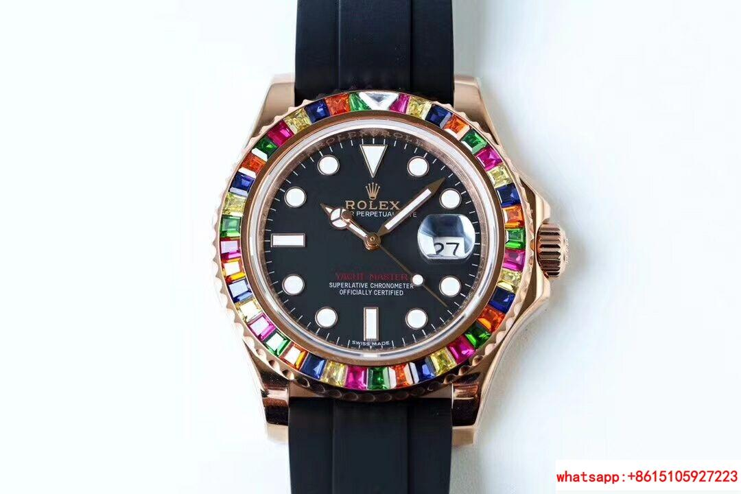 NEW Rolex Yacht-Master 40 18k Rose Gold Rainbow Watch Box/Papers 116695SATS 1