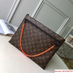 hotsale lv monogram A4 POUCH lv cluth lv pouchCoated canvas